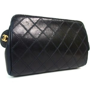 Auth Chanel Pouch Lambskin Clutch #2441C15